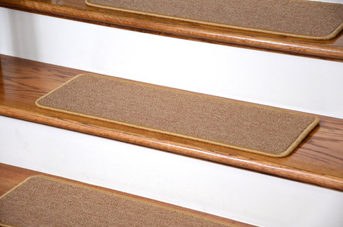 Dean DIY Peel And Stick Serged Non Skid Carpet Stair Treads   Golden Camel (