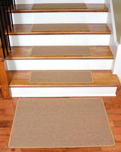 """Dean Serged DIY Carpet Stair Treads 27"""" x 9"""" - Golden Camel - Set of 13 Plus a Matching 2' x 3' Landing Mat"""