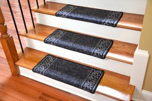 Dean Modern DIY Bullnose Wraparound Non-Skid Carpet Stair Treads - Garden Path Black