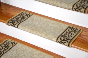 Dean Modern DIY Bullnose Wraparound Non-Skid Carpet Stair Treads - Garden Path Beige