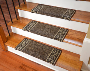 Dean Modern DIY Bullnose Wraparound Non Skid Carpet Stair Treads   Garden  Path Brown (