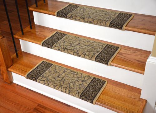 Dean Modern DIY Bullnose Wraparound Non Skid Carpet Stair Treads   Garden  Path Gold And Brown