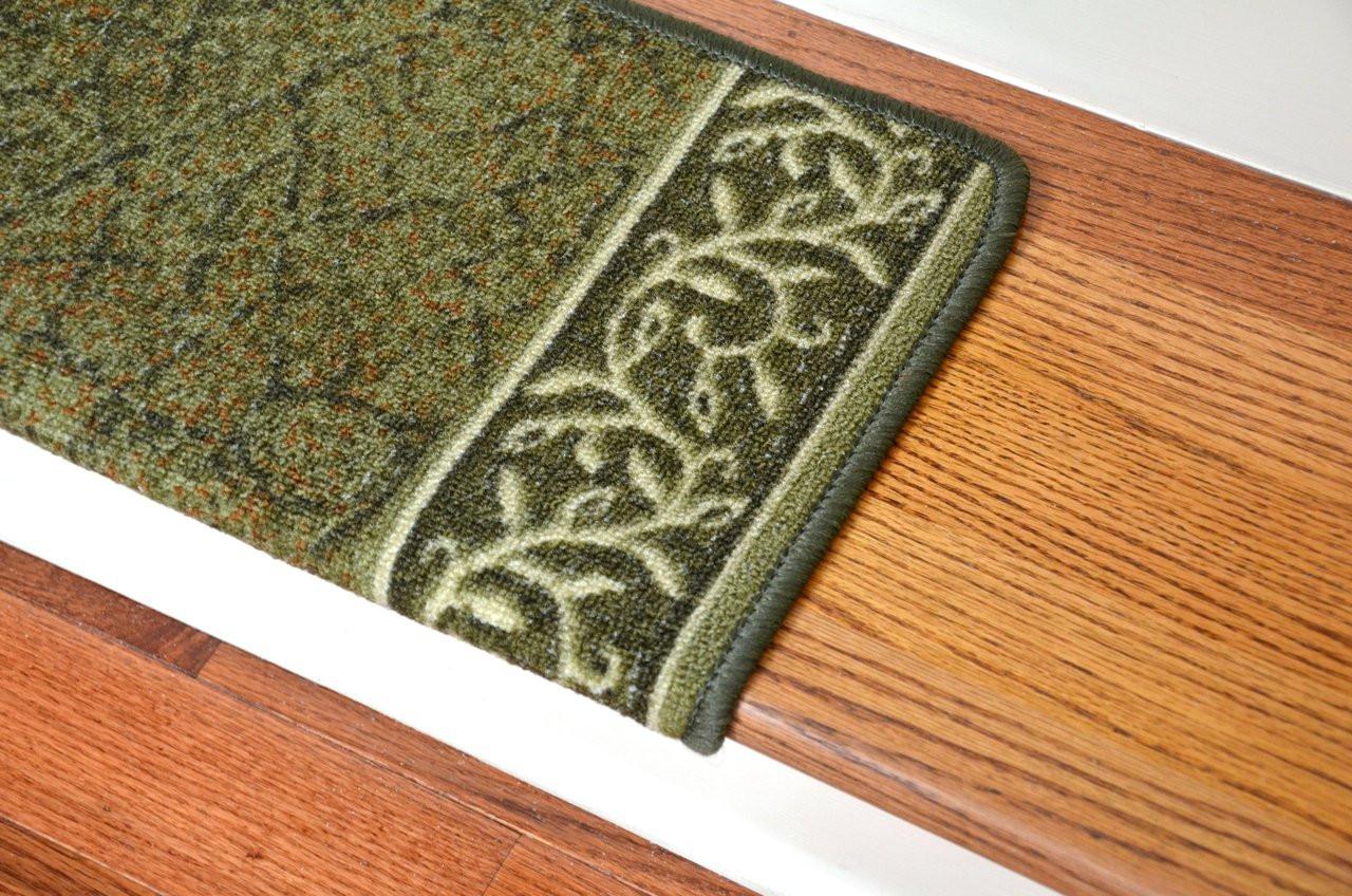 Dean Modern DIY Bullnose Wraparound Non Skid Carpet Stair Treads   Garden  Path Green