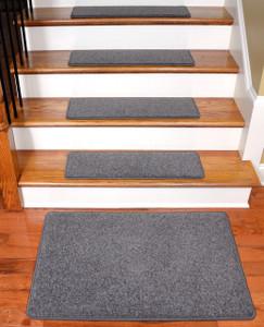 "Dean Carpet Stair Treads 27"" x 9"" Gray Plush (Set of 13) Plus a 2' x 3' Mat"