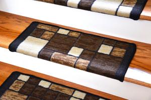 Dean Modern DIY Bullnose Wraparound Non-Skid Carpet Stair Treads - Hop Scotch Chocolate