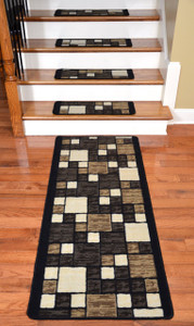 Dean Washable Non-Skid Carpet Stair Treads - Hop Scotch Chocolate (13) Plus a Matching 5' Landing Runner