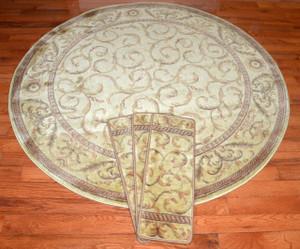 "Dean Premium Carpet Stair Treads - Ivory/Beige Scrollwork (13) Plus a Matching 5'6"" Round Landing Rug"