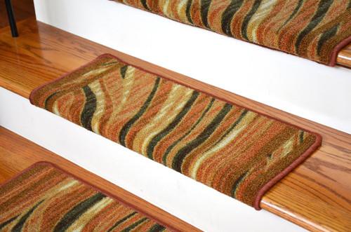 Dean Modern DIY Bullnose Carpet Stair Treads   Jazzy Terra Cotta   Set Of 13