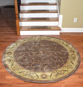 "Dean Premium Carpet Stair Treads - Khaki Scrollwork (13) Plus a Matching 5'6"" Round Landing Rug"