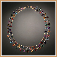 Faceted Multi-Gemstone Flat Teardrop Double Strand Necklace