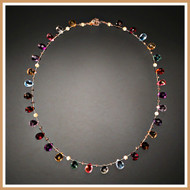 Faceted Multi-Gemstone Flat Teardrop Single Strand Necklace