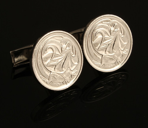 Australian Silver Plated Two Cent Coin Cufflinks front view