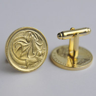 1980 Australian Gold Plated 2 Cent Coin Cufflinks – Birth Year 1980