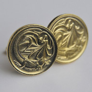 1976 Australian Gold Plated 2 Cent Coin Cufflinks – Birth Year 1976