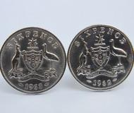 1954 birth year Australian Sixpence Coin-Cufflinks 460x545 Front