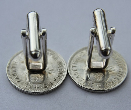 1948 birth year Australian Sixpence Coin-Cufflinks 460x545 Back