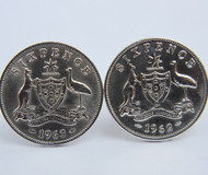1948 birth year Australian Sixpence Coin-Cufflinks 460x545 Front