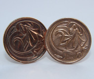 1967 Australian 2 Cent Coin Cufflinks