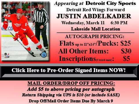 Click HERE to Pre-Order Autographed Justin Abdelkader Merchandise