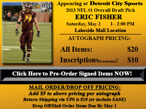 Click HERE to Pre-Order Autographed Eric Fisher Merchandise