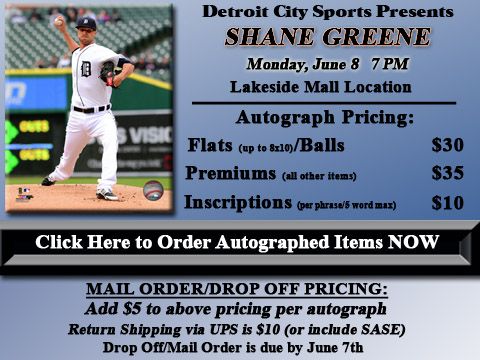 Click HERE to Pre-Order Autographed Shane Greene Merchandise