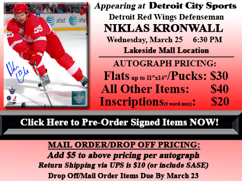 Click HERE to Pre-Order Autographed Niklas Kronwall Merchandise