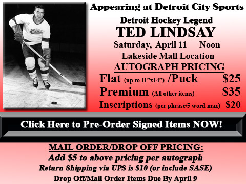 Click HERE to Pre-Order Autographed Ted Lindsay Merchandise