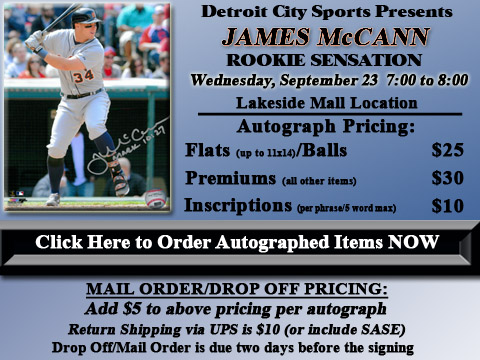 Click HERE to Pre-Order Autographed James McCann Merchandise