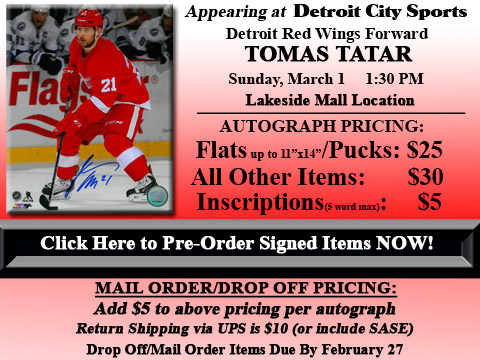 Click HERE to Pre-Order Autographed Tomas Tatar Merchandise