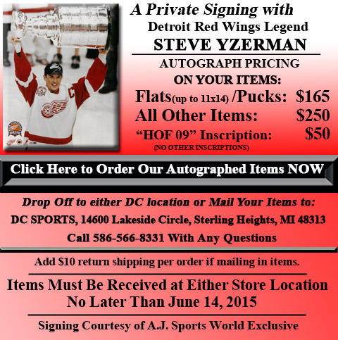 Click HERE to Pre-Order Autographed Steve Yzerman Merchandise