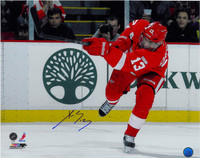 Pavel Datsyuk Autographed Detroit Red Wings 16x20 Photo #3 - One Leg Shooting (horizontal)