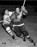Ted Lindsay Autographed Detroit Red Wings 16x20 Photo #1 - Action B&W