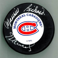 Maurice Richard and Henri Richard Autographed Montreal Canadiens Puck