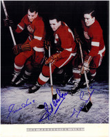 Gordie Howe, Sid Abel, and Ted Lindsay Autographed Production Line 8x10 Photo