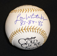 "Lou Whitaker Autographed Baseball - Official Gold Glove Ball w/ ""83-84-85"""