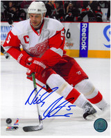 Nicklas Lidstrom Autographed 8x10 Photo #5 - White Jersey Action