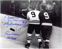Gordie Howe & Bobby Hull Autographed 8x10 Photo #1 - Along the Boards