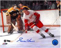 Gordie Howe Autographed Detroit Red Wings 8x10 Photo #3 - Color Action vs. Boston