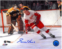 Gordie Howe Autographed Detroit Red Wings 8x10 Photo #3 - Color Action vs. Boston