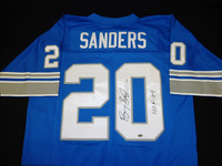 "Barry Sanders Autographed Detroit Lions Jersey - Blue Mitchell & Ness inscribed ""HOF 04"""