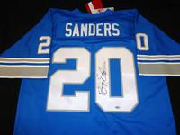 Barry Sanders Autographed Detroit Lions Jersey - Blue Mitchell & Ness