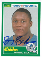 Barry Sanders Autographed 1989 Score Rookie Card