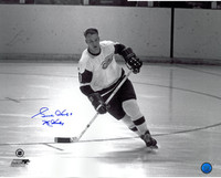 Gordie Howe Autographed Detroit Red Wings 16x20 Photo #1 - black & white on the open ice