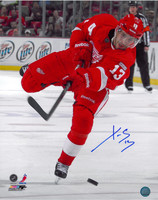 Pavel Datsyuk Autographed Detroit Red Wings 16x20 Photo #1 - One Leg Shooting