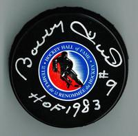 """Bobby Hull Autographed HOF Logo Puck w/ """"HOF 1983"""""""