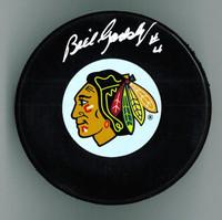 Bill Gadsby Autographed Hockey Puck - Rangers or Blackhawks