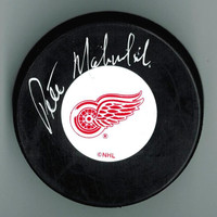 Pete Mahovlich Autographed Detroit Red Wings Puck