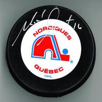 Michel Goulet Autographed Quebec Nordiques Puck