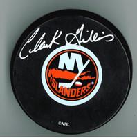 Clark Gillies Autographed New York Islanders Puck