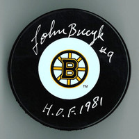 Johnny Bucyk Autographed Bruins Puck with Inscription